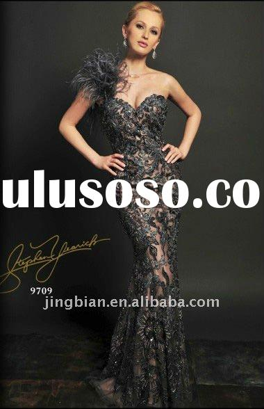 Hot sell feather and lace mermaid evening dress latest design stylish prom dress 2012 fashion party