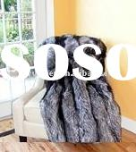 Hot sell!! very comfortable and soft in touch silverfox fur blanket