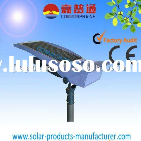 Integrated solar LED street light for outdoor use