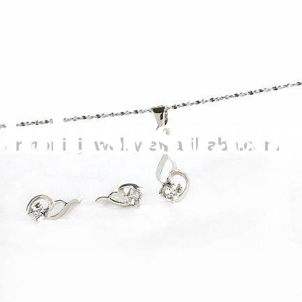 Latest 925 sterling silver Swarovski Crystal CZ Knotted Pendant/Earrings Jewelry Set