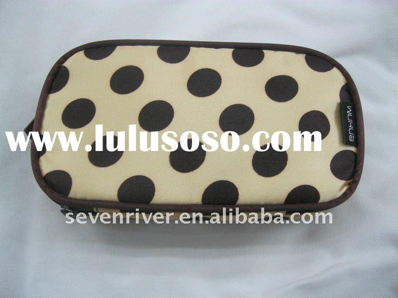 Promotional Double-deck Cosmetic Bags/Zipper Around Makeup Bags With Mirror Cheap