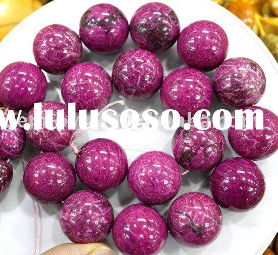 Purple Coral Fossil Round Gemstone Beads