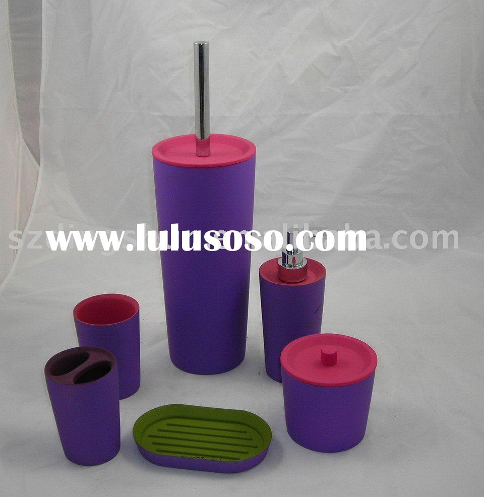 Red and Purple Polyresin Bathroom Accessory sets
