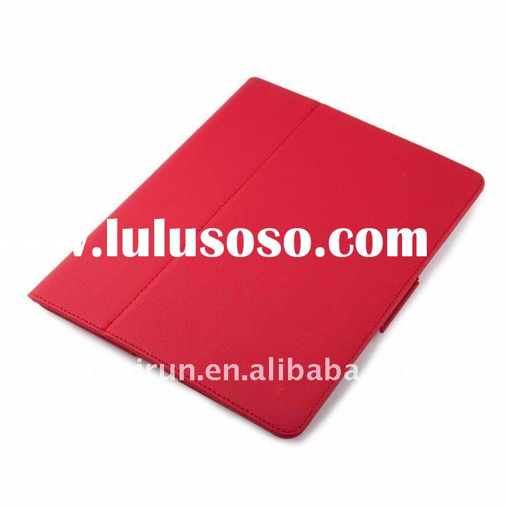 Red pu Leather Case With Stand Cover for Ipad 2