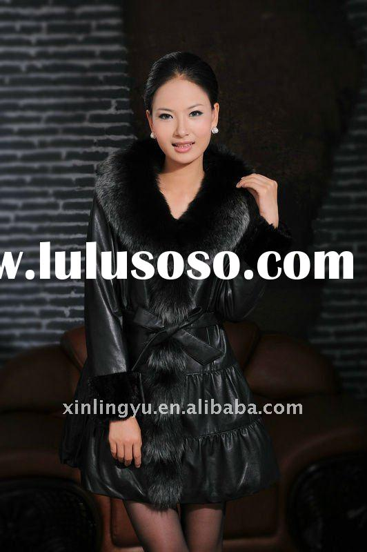 Top brand fashion women leather coat with fox fur