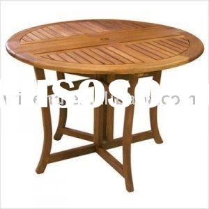 (W-T-1886) folding round wooden table