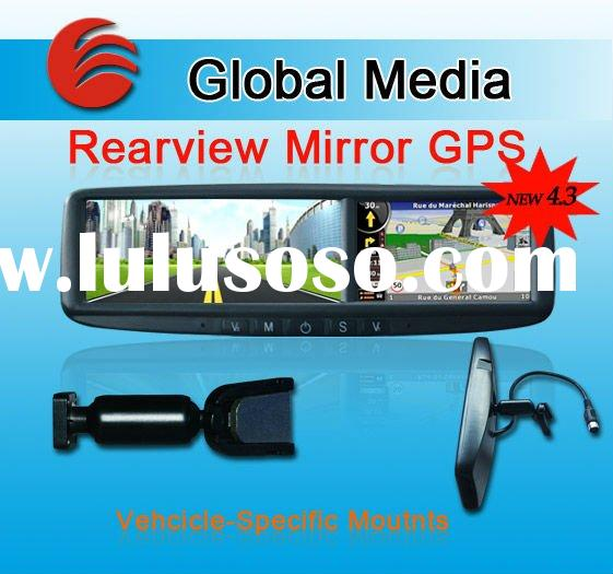 auto parts 4.3 rearview mirror gps navigation touch screen fm transmitter av input