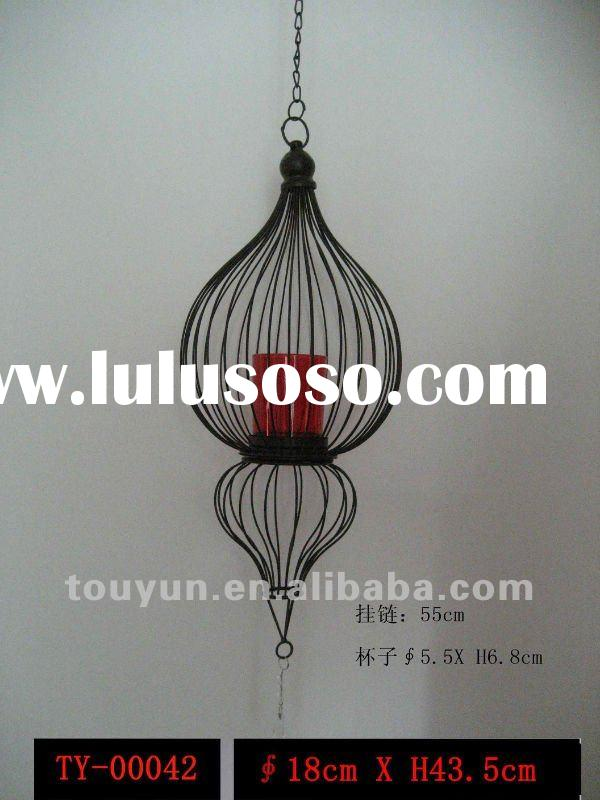 black iron wire hanging candle holder