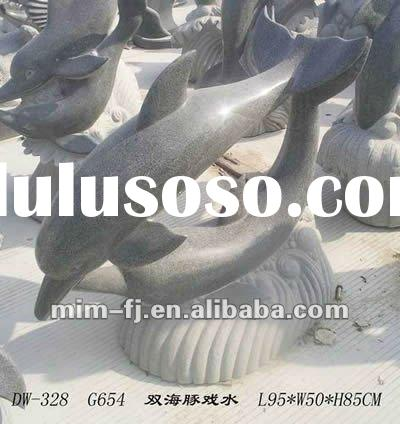 dolphin sculptures, animal statue, stone carving, carving stone, carving craft, garden stone carving