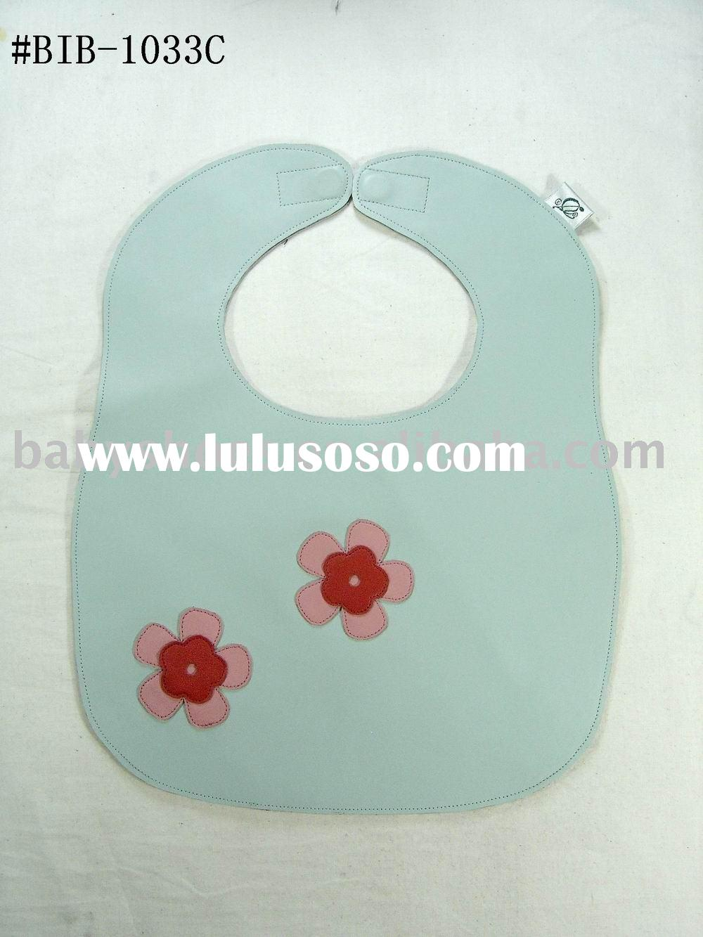 light blue with lovely flowers leather baby bibs