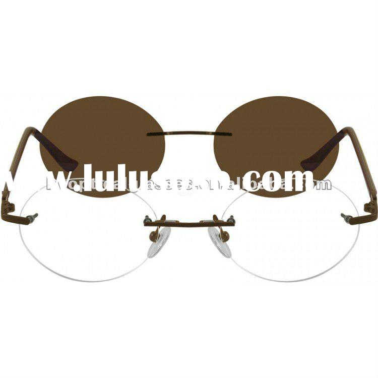 Rimless Eyeglasses With Magnetic Sunglasses : 1655 half rim metal frame with acetate temples eyeglasses ...