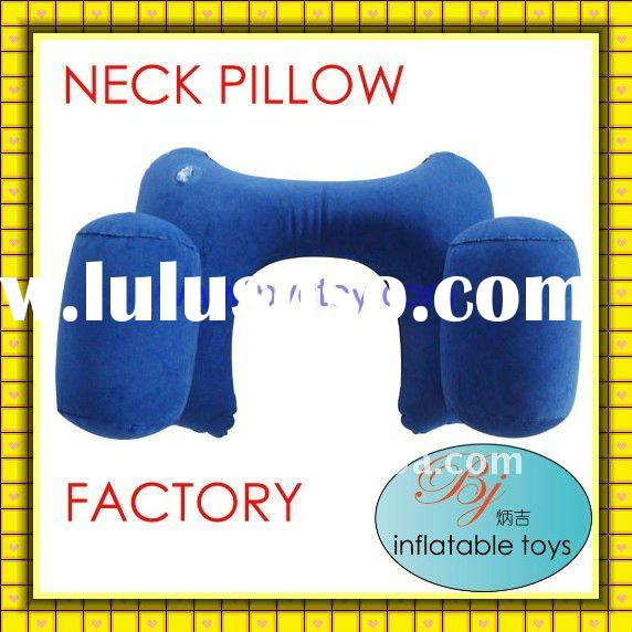 plastic pvc flocked inflatable air back support u-shape travel pillow