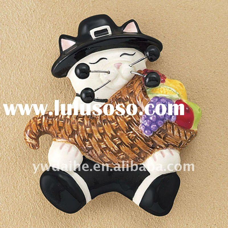 popular white brown and black painted with fruit ceramic pilgrim kitty accessories brooch,alloy broo