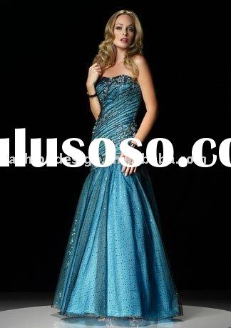 prom008 2012 fashion Charming sparkle tulle over taffeta beaded blue Pageant Dresses