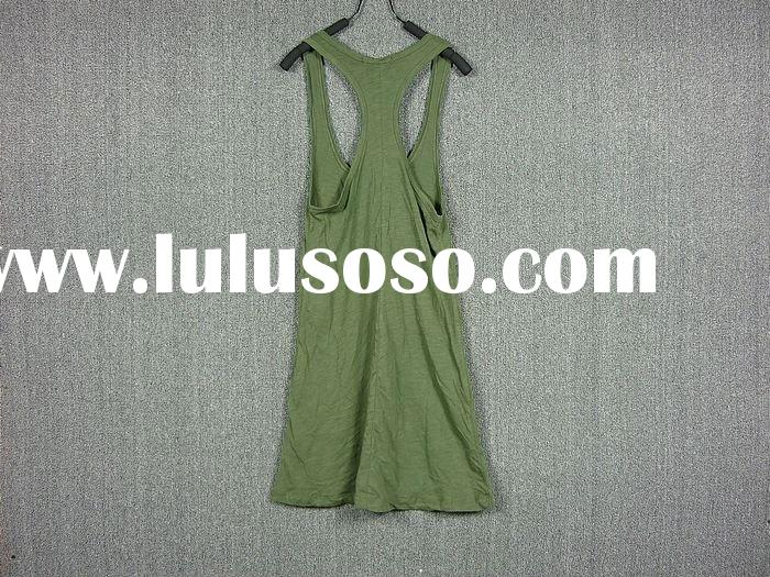 viscose/cotton vest tank top for women army green vest top ,lady's tank top fashion ,loose a