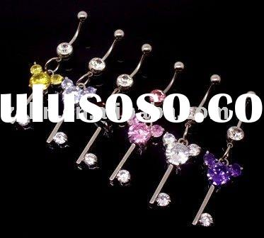 with Mikey dangle navel belly ring body button piercing jewelry