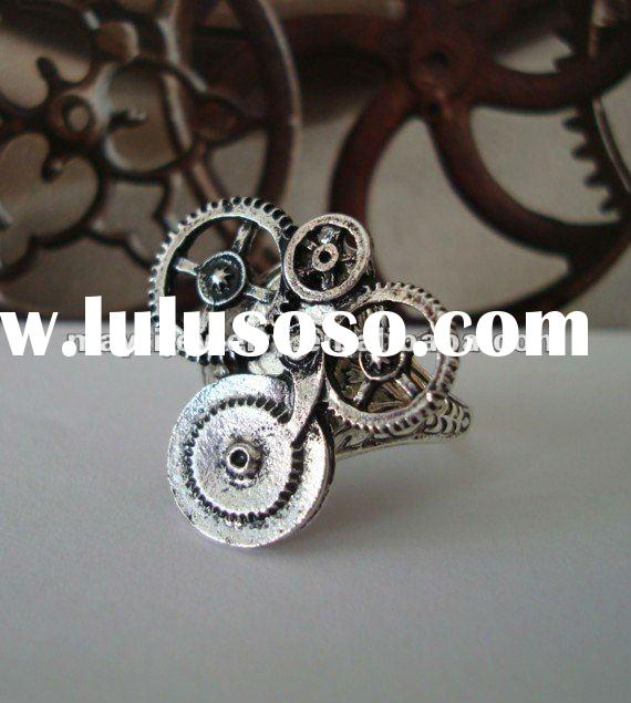 womens 316L Stainless Steel STEAMPUNK GEAR RING,oxidized finish