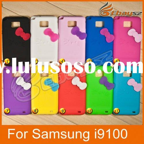 10Pcs/Lot For Samsung i9100 Galaxy S II Hello Kitty Silicone Colorful Case Cover Skin