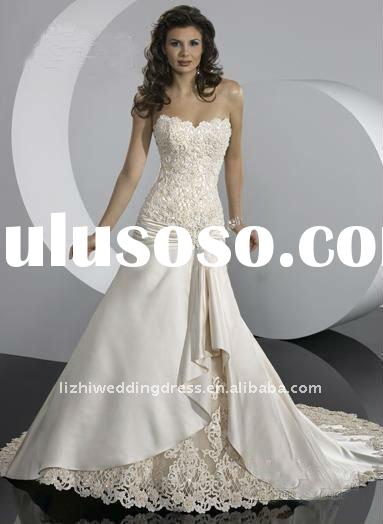 2011 fall/winter elegant strapless trumpet ivory alencon lace and embroidery bridal winter wedding d