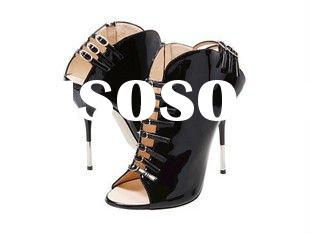 2011 latest design ladies genuine leather high heel shoes