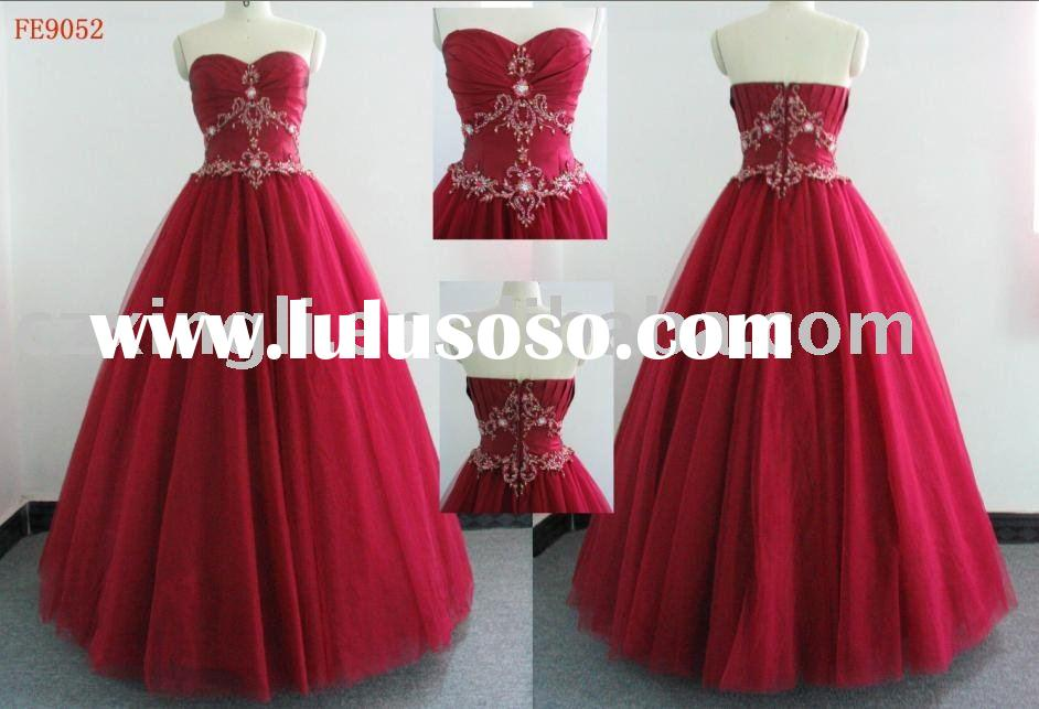 Ball Gown Floor-Length Strapless Satin with Embroidery and Beading Prom Dress FE9052