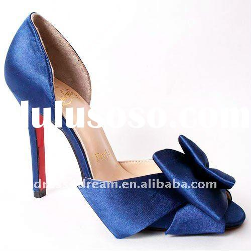 Genuine leather blue fashion womens shoes high heel with bow