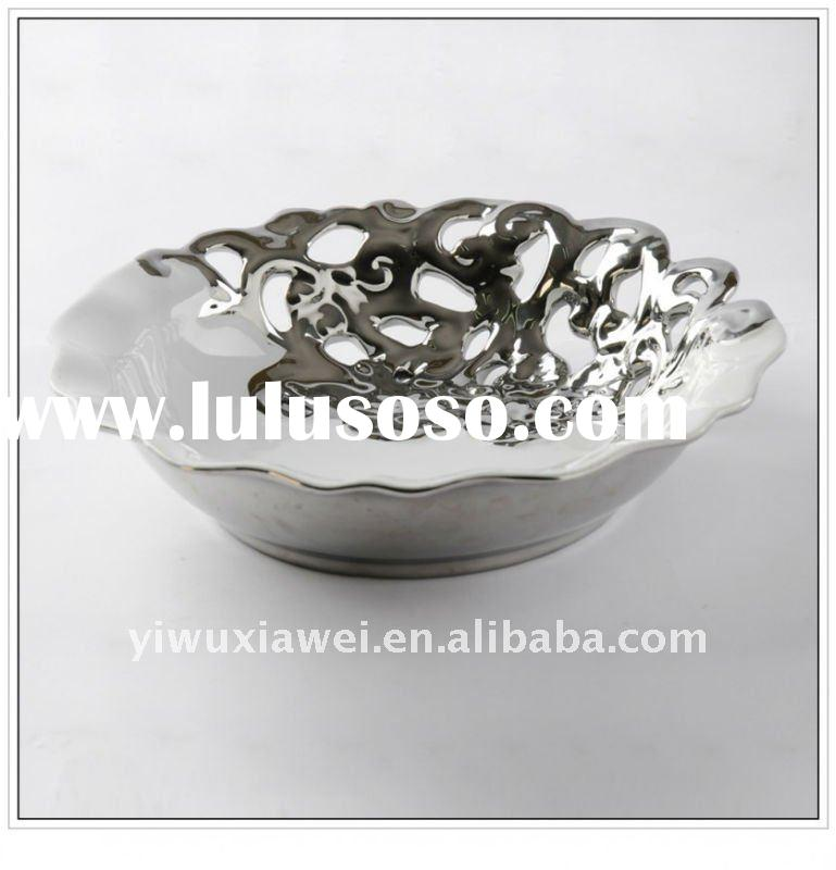 Handicrafts home decoration ceramic tray for fresh fruit and candies in white glaze with electroplat