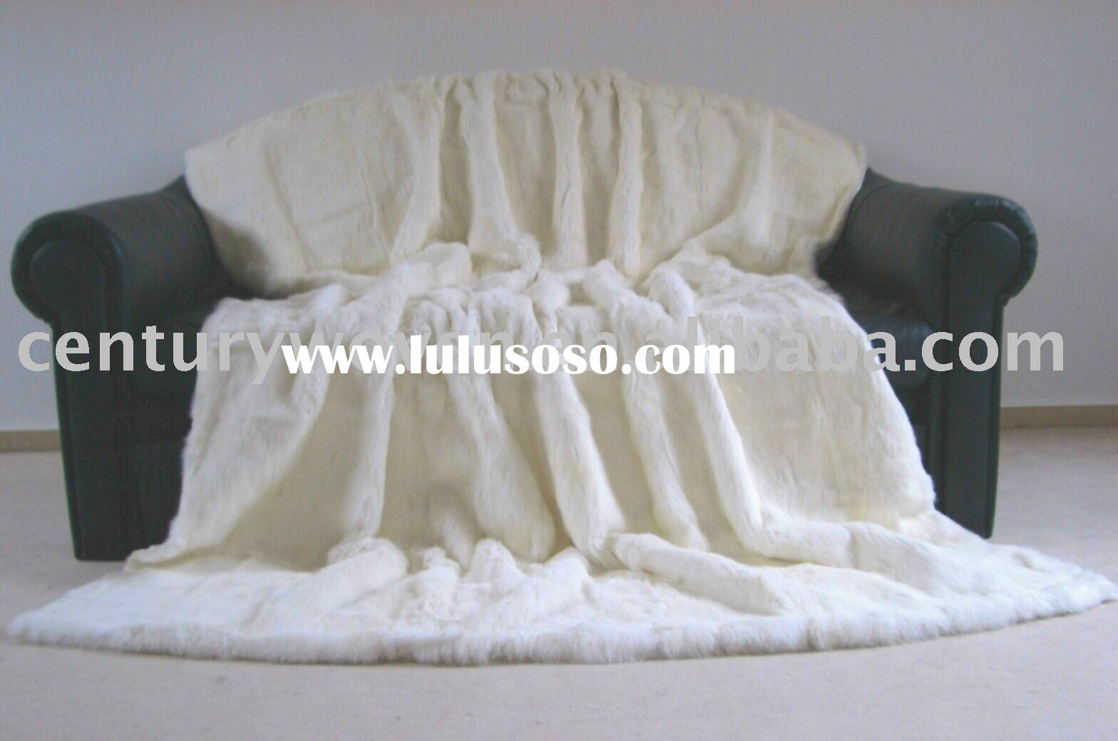 Hot sell!! very comfortable whit color natural rabbit fur blanket