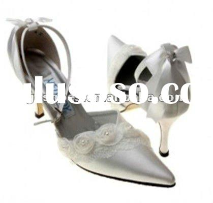 Pointed Silver High Heel Satin Bridal Shoes Manufacture
