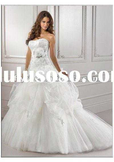 Tulle Sweetheart Strapless Neckline Applique Accents Flower Sash Ball Gown Style with Pick-up Skirt