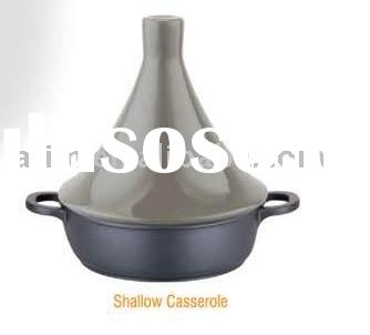 die- casting aluminum shallow casserole soup pot with clay lid