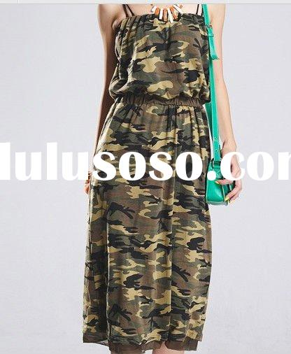 fashion ladies spaghetti strap camouflage dress