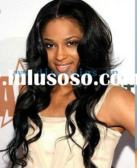glueless cap black wavy indian remy human hair lace wig accept paypal