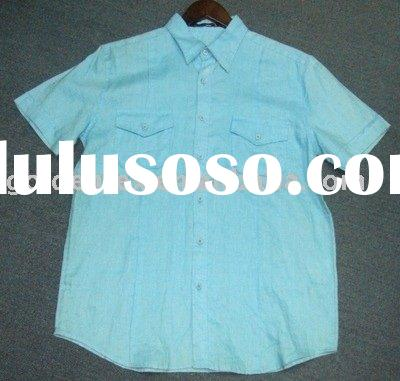 high quality 100% linen piece dyed men's shirts