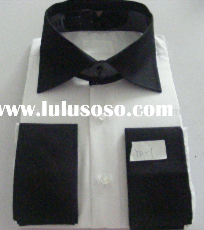 mens black high spread collar and black french cuff dress shirts