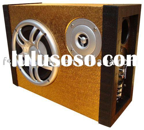 """square (thin) 6"""" car subwoofer/sub woofer box with tweeter"""