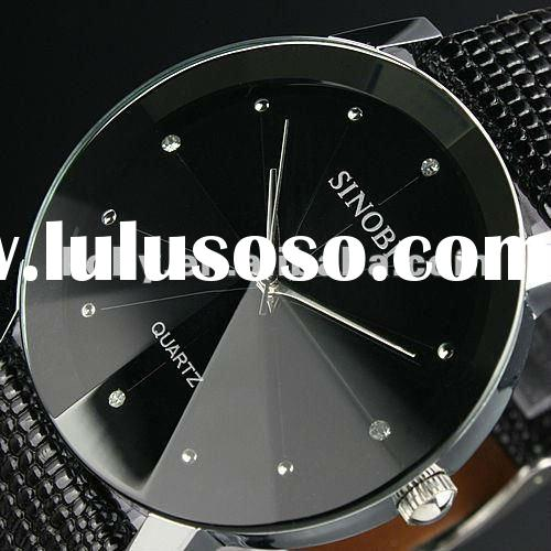 Luxury SINOBI Black Leather Strap Men Watch