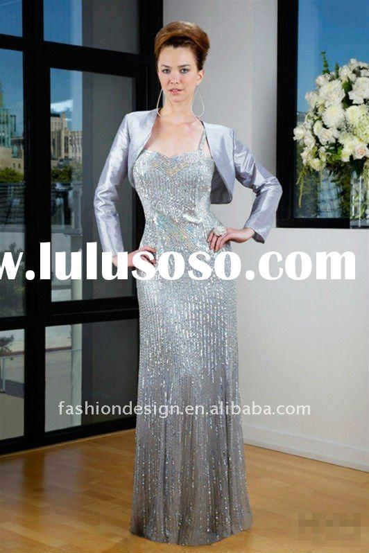 TE-235 Stunning Sequins lace spaghetti strap floor length skirt with long sleeve jacket Evening dres