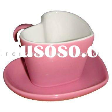ceramic heart shaped coffee cup and saucer