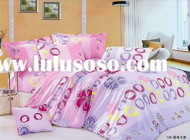 100%cotton satin printed flat sheet set/ duvet cover set/ bed sets/DUVET COVER SET
