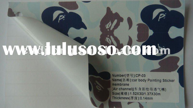 1.52/1.27*30m camouflage color carbon fiber vinyl wrap sheet with Air channels