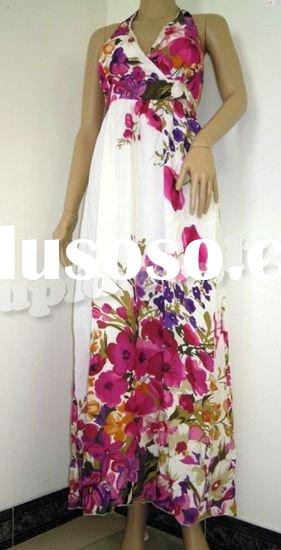 2011 hot sale women cotton beautiful flower maxi dress from Chinese manufacturer R2217