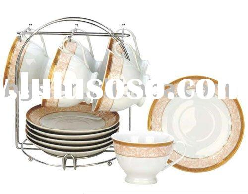 220ml 13pcs ceramic cup with metal stand