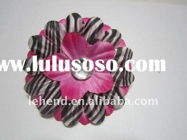 2inch zebra Gerber Daisy Flower Hair Clip Bow with Crystal Center / 2INCH polka dots daisy flower or