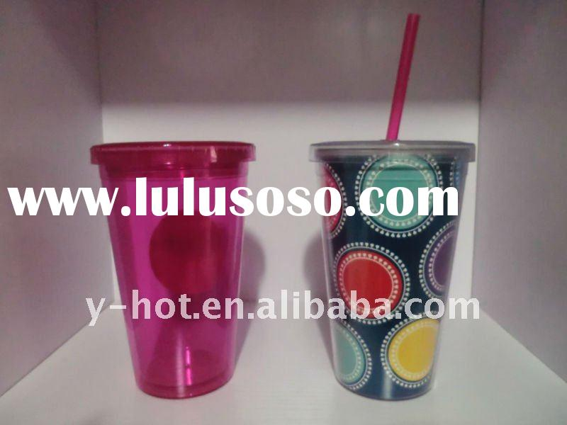 450ml plastic translucent tumbler with straw YH-4005