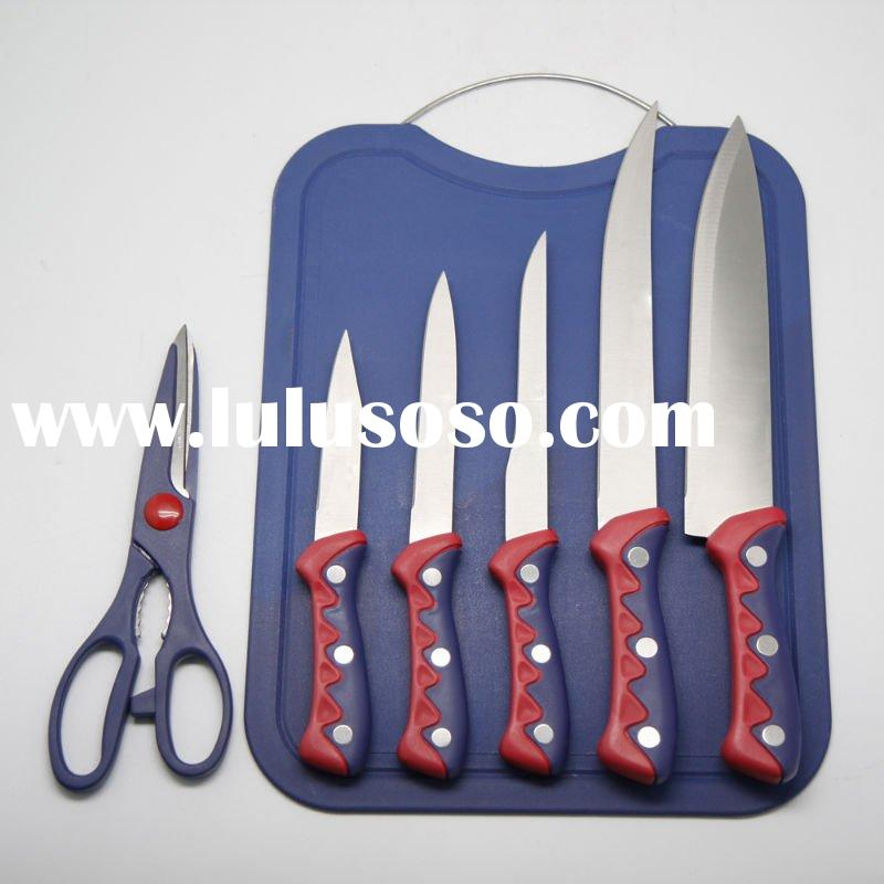 6pcs Stainless Steel Kitchen Knife Set with Cutting Board/Kitchen Tool/Kitchenware