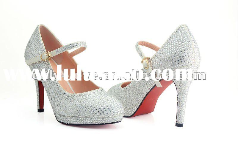 BS201 custom make high heel red bottom white rhinestones bridal shoes with crystal strap