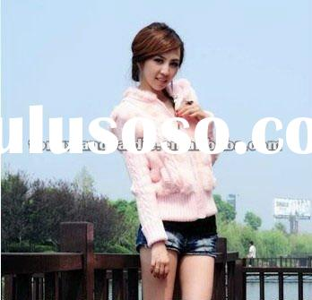 CD033 Hot sale pink knitted rabbit fur coat for girls
