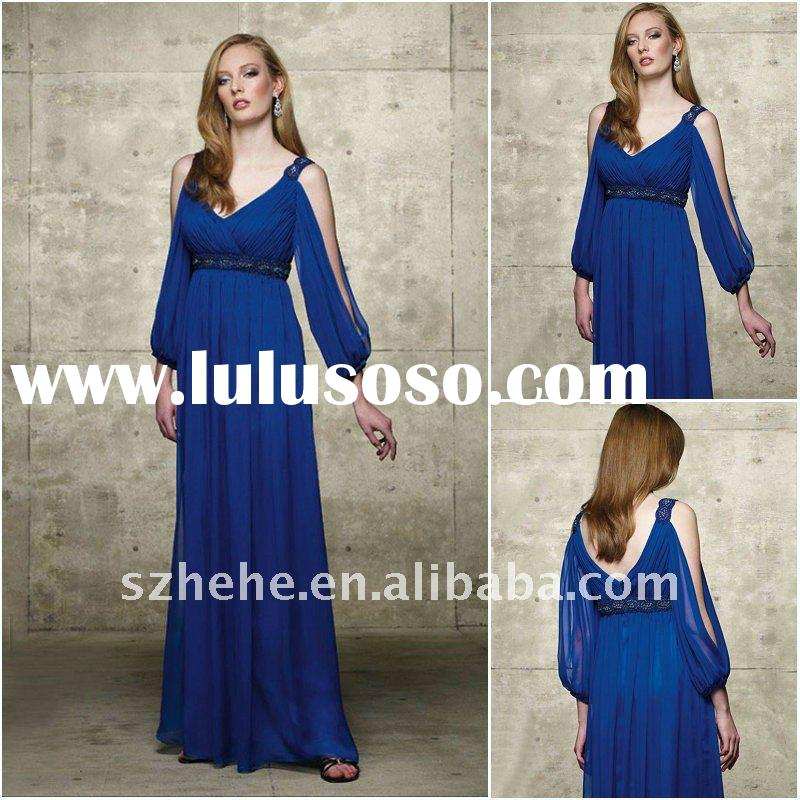 Chiffon long sleeves royal blue mother of the bride dresses