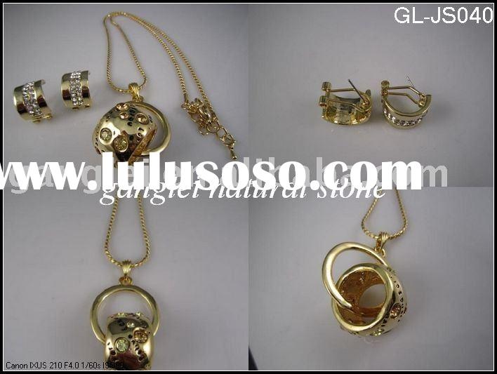 Fashion imitation gold Plated Jewelry Necklace Sets/gold plated necklace and earring set
